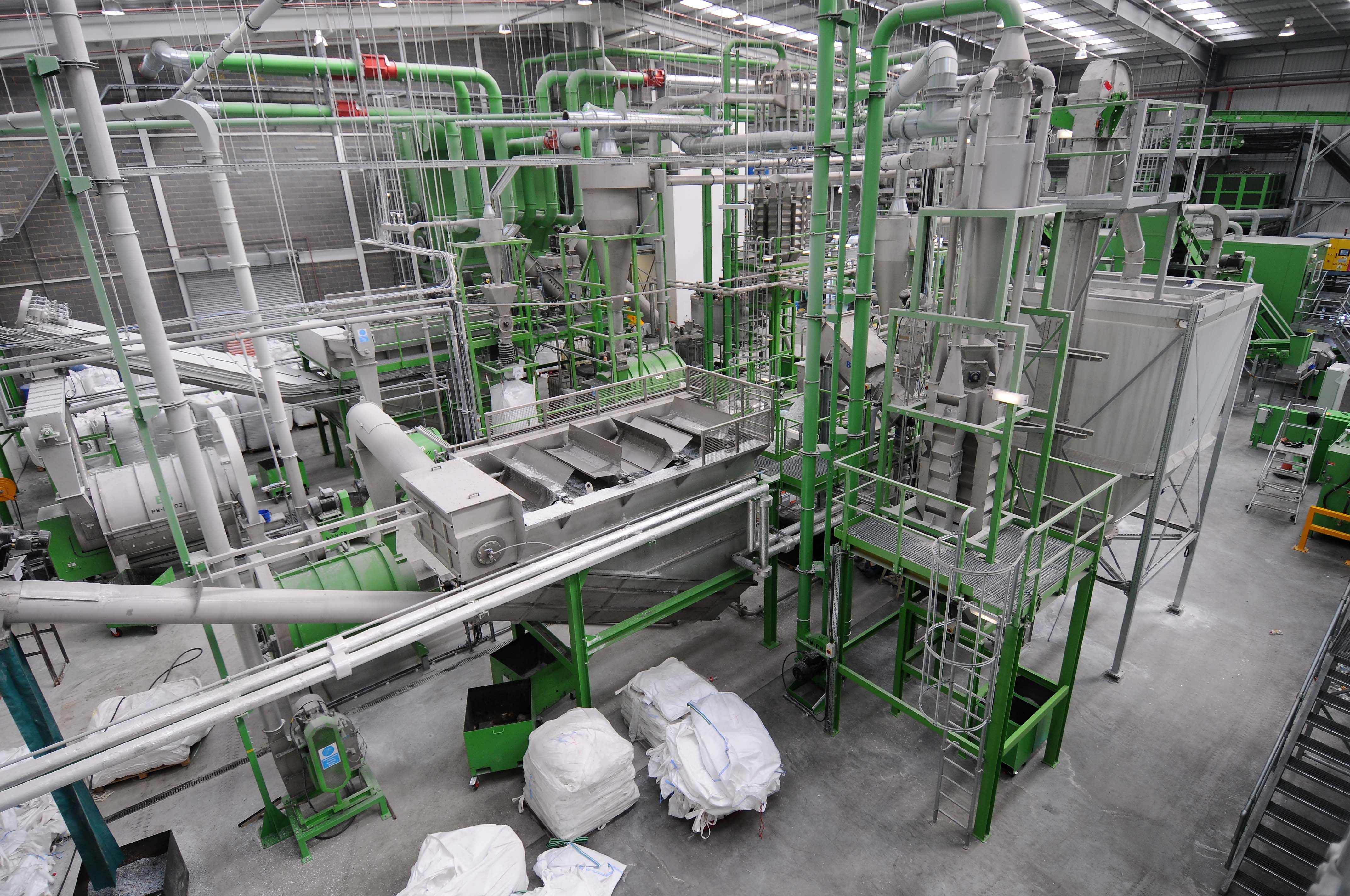 Recycling plant for PET and HDPE bottles