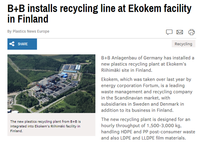 Ekokem recycling plant in Plastics News Europe