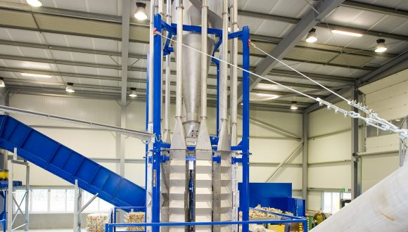 air classifier separating heavier and lighter materials